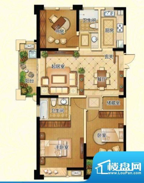 新港天城户型图17#、21#标准层面积:125.70平米