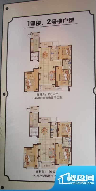乌桥水岸花园户型图1#2#B户型1面积:136.00平米