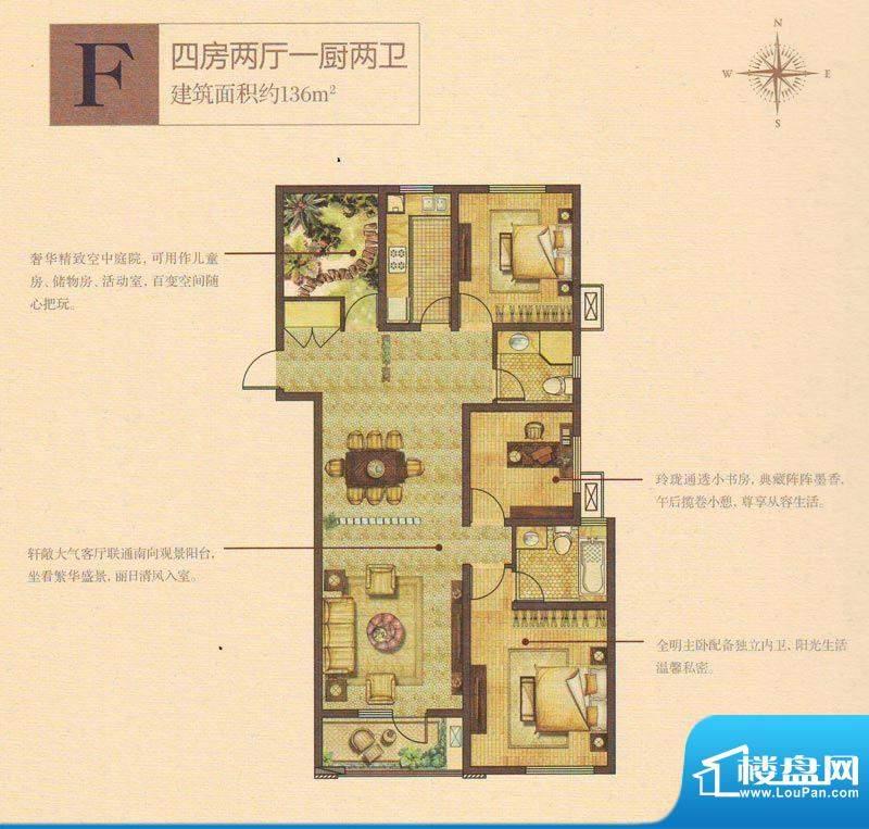 奥林清华首府户型图101#楼F户型面积:136.00平米