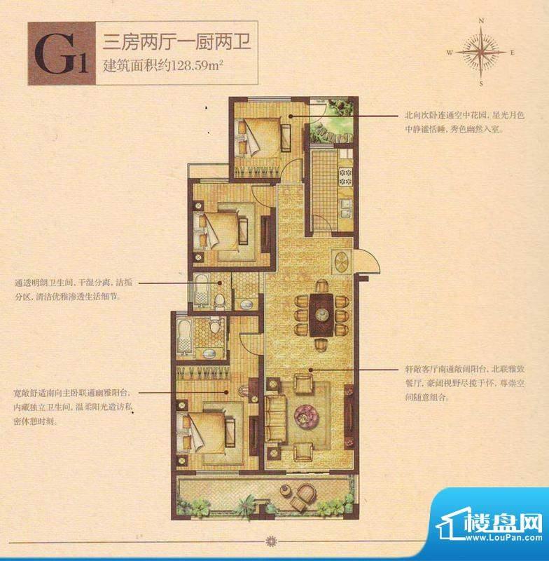 奥林清华首府户型图109#楼西中面积:128.59平米