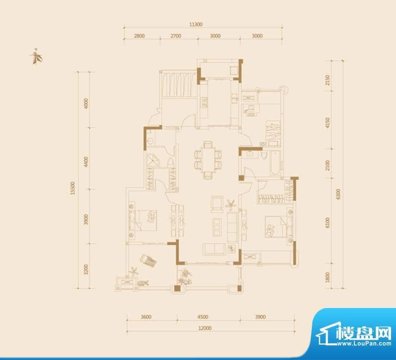金科廊桥水岸户型图一期15#D户面积:150.00平米