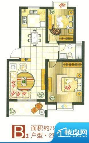 格林华城户型图2#楼B2户型 2室面积:79.00平米