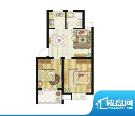 格林华城户型图64平米2室2厅1厨