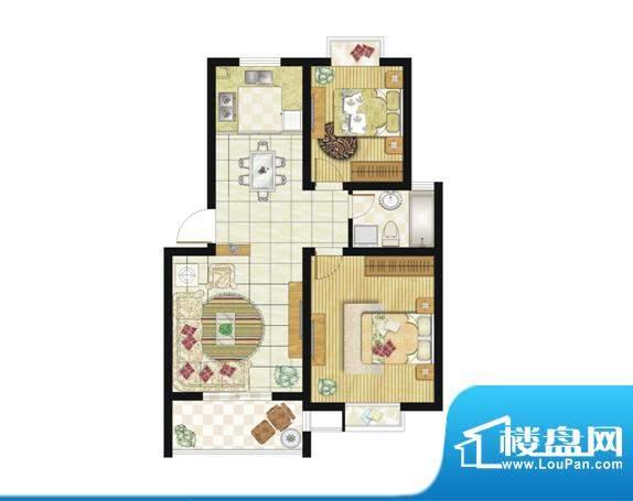 格林华城户型图79平米2室2厅1厨