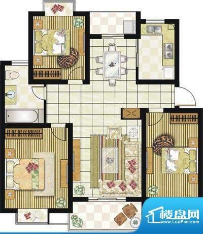 格林华城户型图1#楼D2户型 3室面积:105.00平米