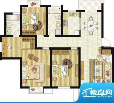 格林华城户型图4#楼F1户型 3室面积:127.00平米