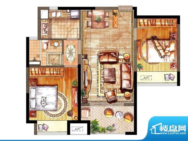 绿地太湖城户型图B户型 2室2厅面积:88.00平米