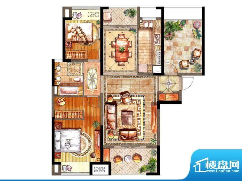 绿地太湖城户型图C户型 2室2厅面积:117.00平米
