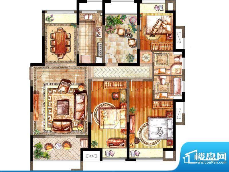 绿地太湖城户型图D户型 3室2厅面积:143.00平米