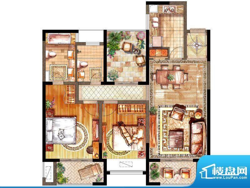 绿地太湖城户型图E户型 2室2厅面积:118.00平米