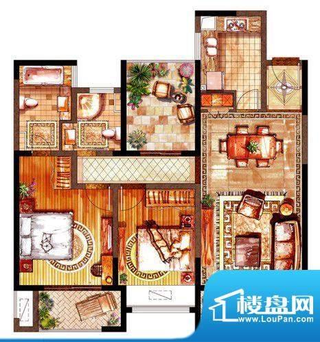 绿地太湖城户型图E户型图 2室2面积:118.00平米