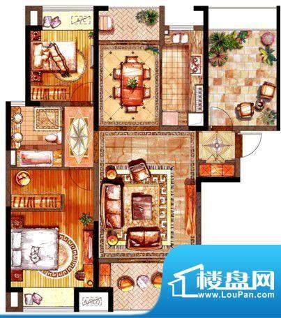绿地太湖城户型图C户型图 2室2面积:117.00平米