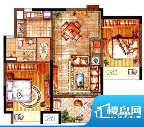 绿地太湖城户型图B户型图 2室2面积:88.00平米