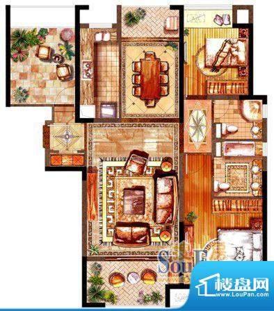 绿地太湖城户型图A户型图 2室2面积:123.00平米