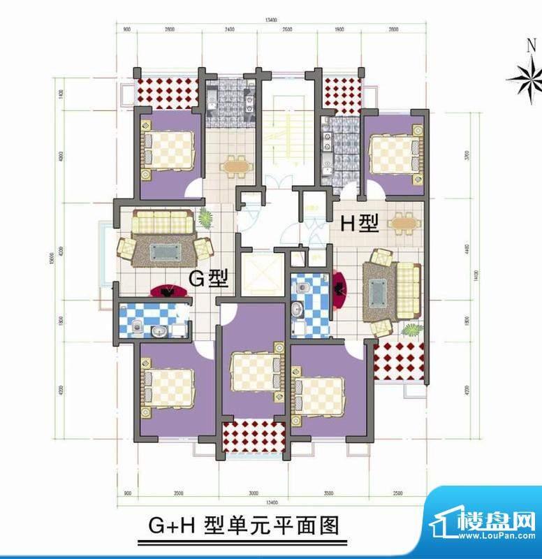 鑫阳家园G H型单元平面积:0.00m平米