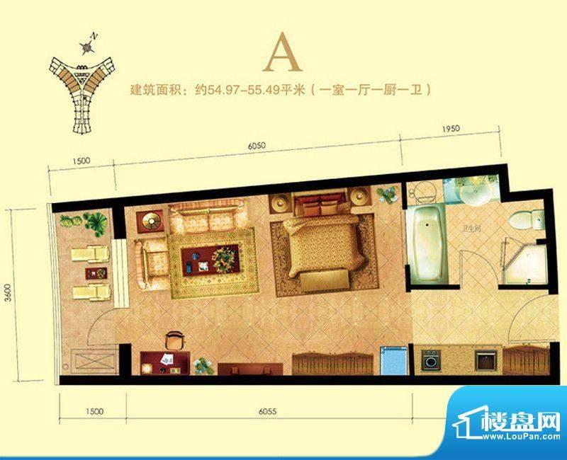 海天翼A户型图 1室1面积:55.00m平米