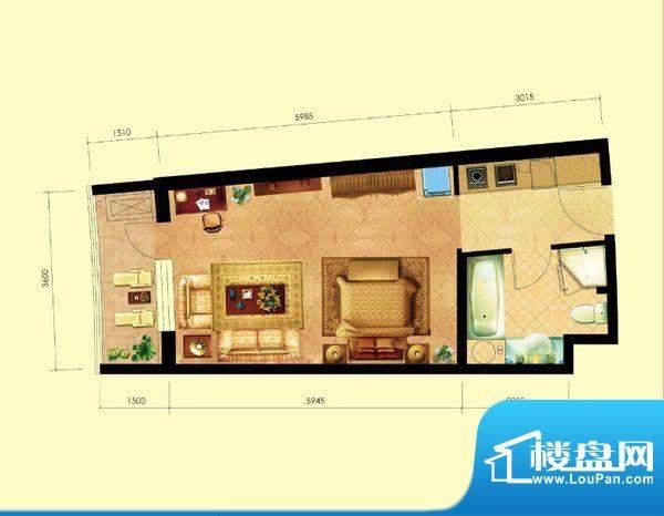 海天翼A1户型 1室1厅面积:55.18m平米