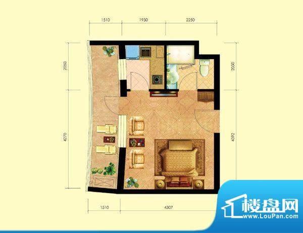 海天翼E户型 1室1厅面积:42.87m平米