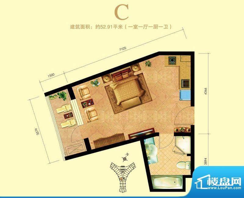 海天翼1室1厅1卫1厨面积:0.00m平米