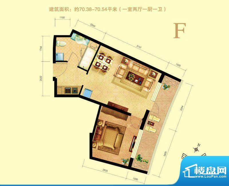 海天翼1室2厅1卫1厨面积:0.00m平米