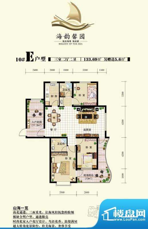 海韵馨园10号楼E户型面积:0.00m平米