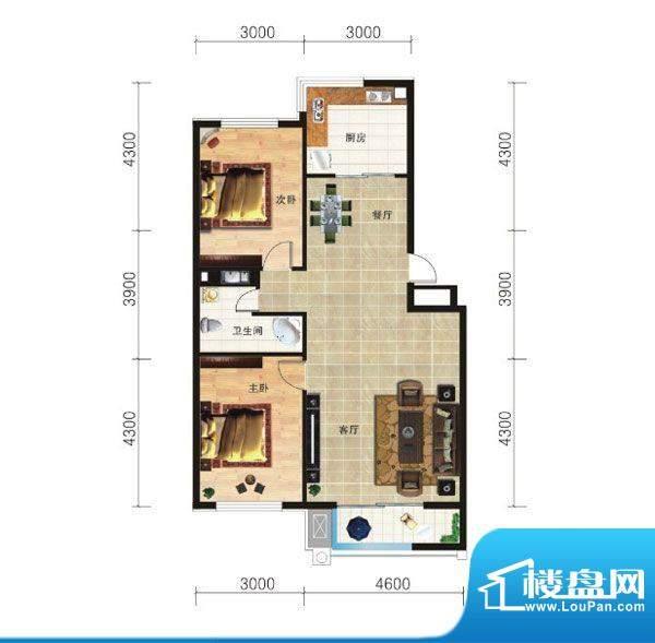 山海龙城G两室两厅一面积:94.53m平米