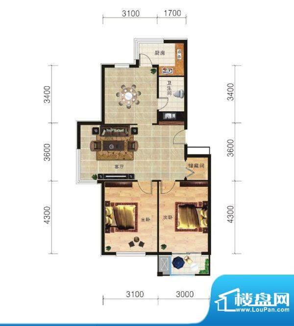 山海龙城A两室两厅一面积:86.88m平米