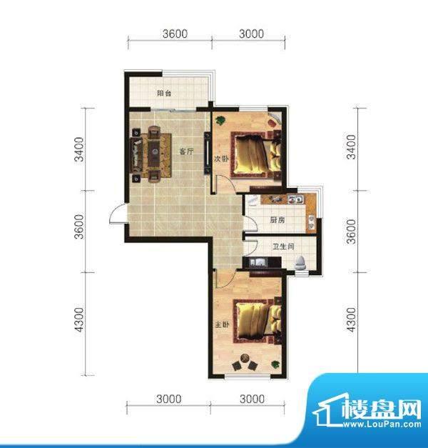 山海龙城D两室两厅一面积:74.46m平米