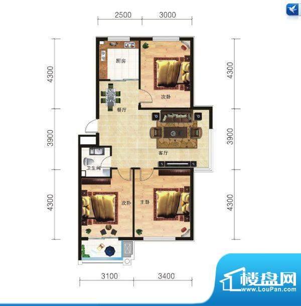 山海龙城H3三室两厅面积:109.27m平米
