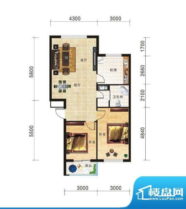 山海龙城E两室两厅一面积:85.24m平米