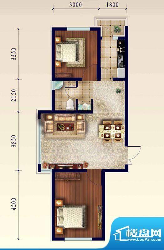 渤海玉园A户型两室一面积:83.59m平米