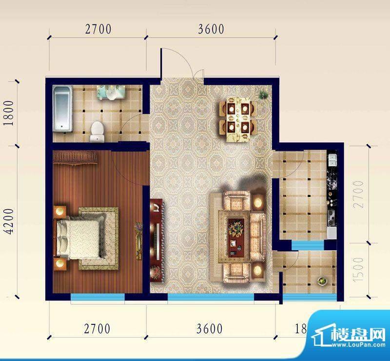 渤海玉园B户型一室一面积:56.16m平米