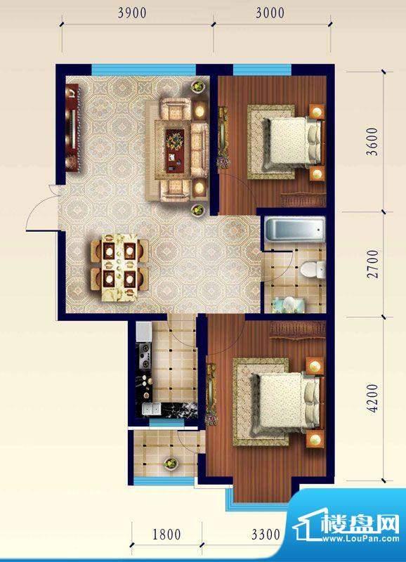 渤海玉园C户型两室一面积:82.57m平米