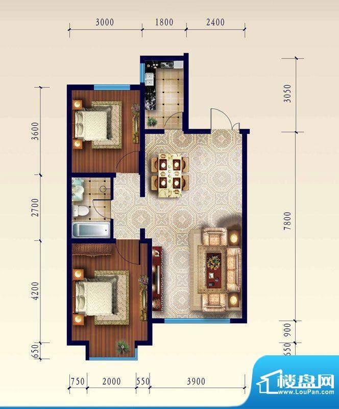 渤海玉园D户型两室一面积:92.61m平米