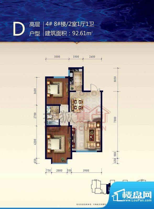 渤海玉园渤海4 2室1面积:92.61m平米