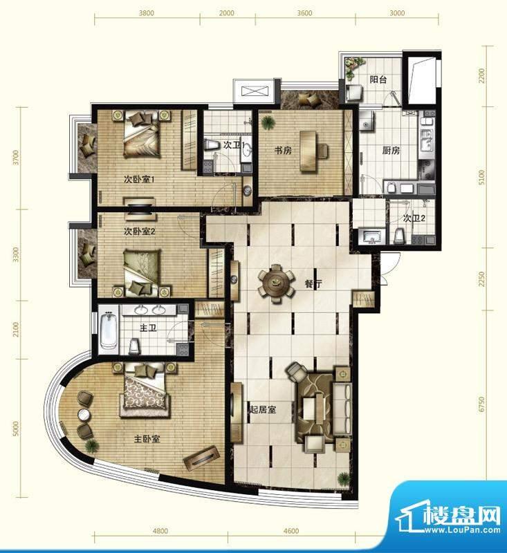 新华联运河湾户型图A-1户型 4室面积:192.05平米