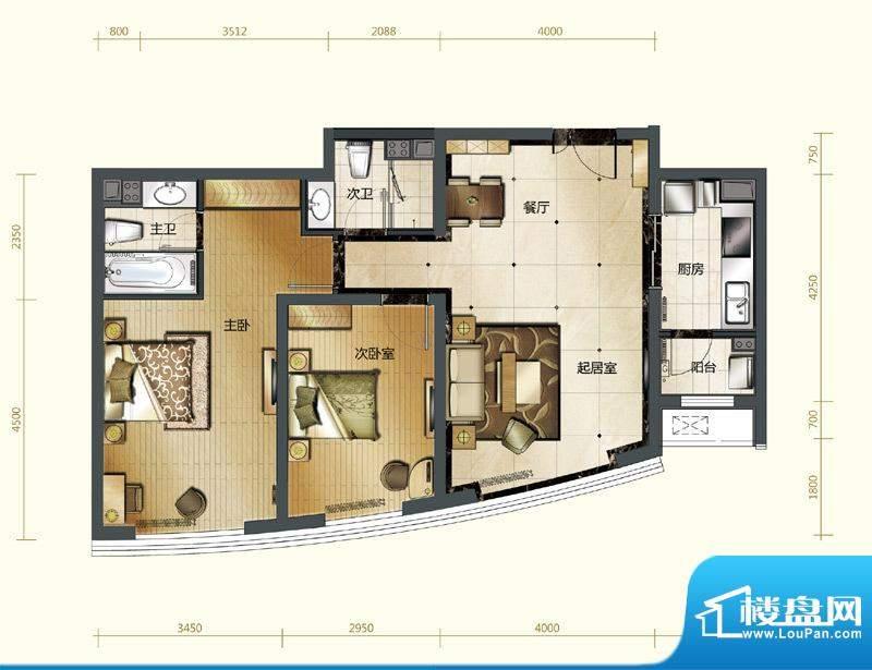 新华联运河湾户型图A-2户型 2室面积:96.76平米