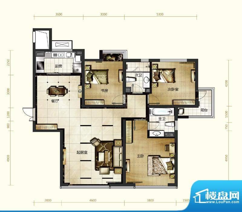 新华联运河湾户型图A-3户型 3室面积:151.89平米