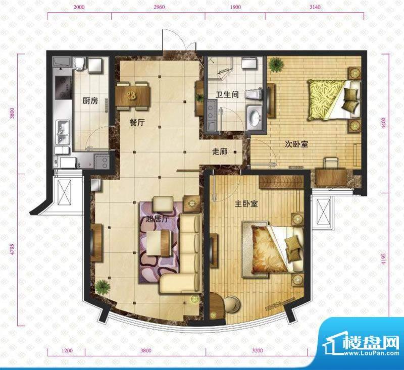 新华联运河湾户型图b-2户型图 面积:86.23平米