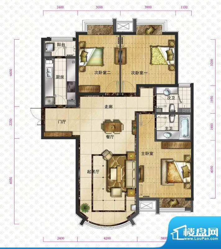 新华联运河湾户型图b-3户型图 面积:135.51平米