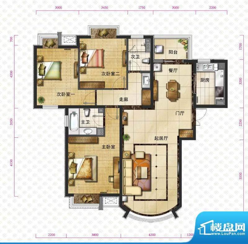 新华联运河湾户型图b`-1户型图面积:143.92平米