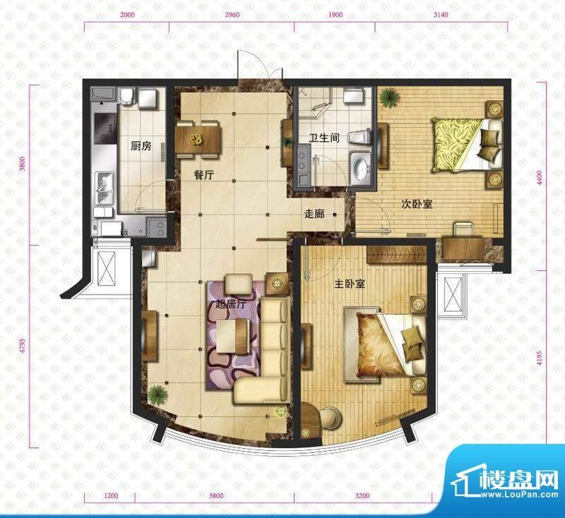新华联运河湾户型图b`-2户型图面积:86.76平米