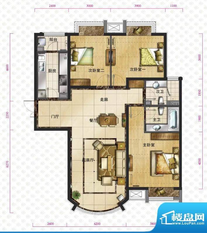 新华联运河湾户型图b`-3户型图面积:131.91平米