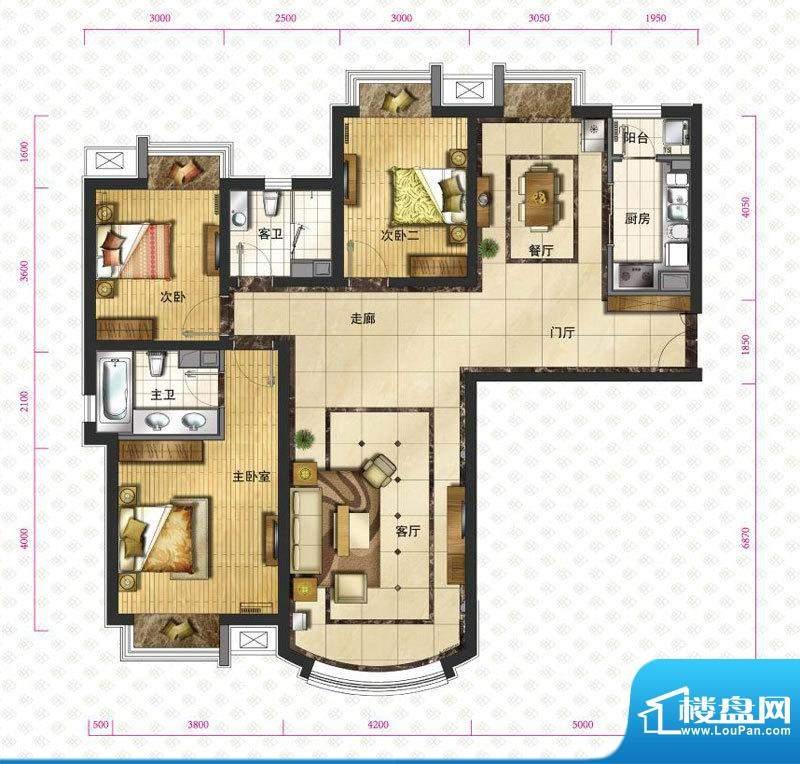 新华联运河湾户型图c1`户型图 面积:149.26平米