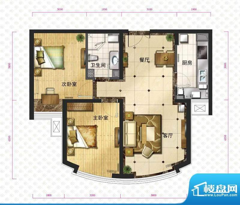 新华联运河湾户型图c2`户型图 面积:84.31平米