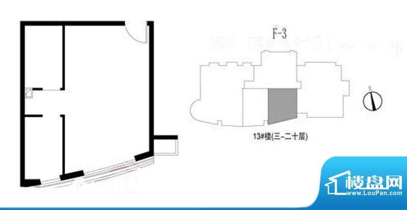 新华联运河湾户型图13号楼3-20
