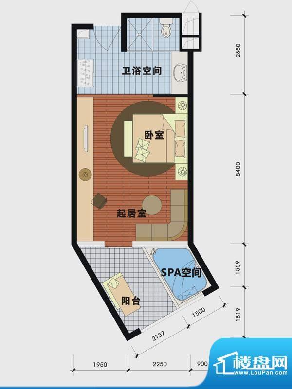天沐温泉谷二期产权面积:54.00m平米