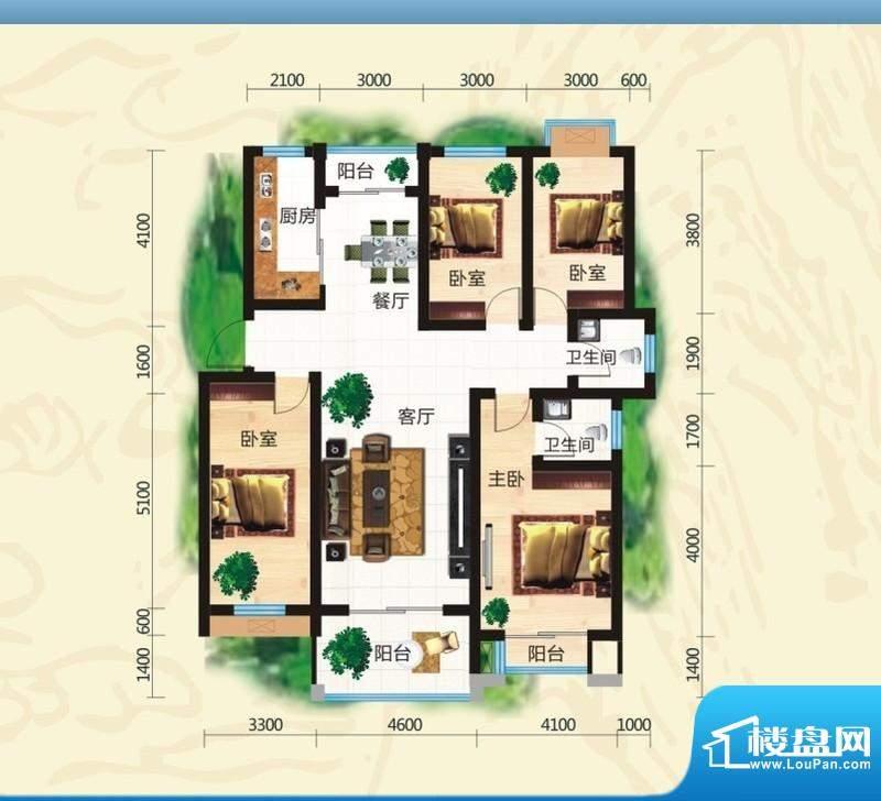 鸿豪城享山四室两厅面积:146.49m平米