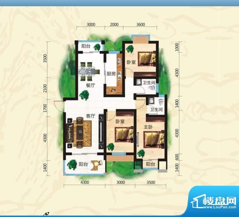 鸿豪城享山三室两厅面积:122.36m平米