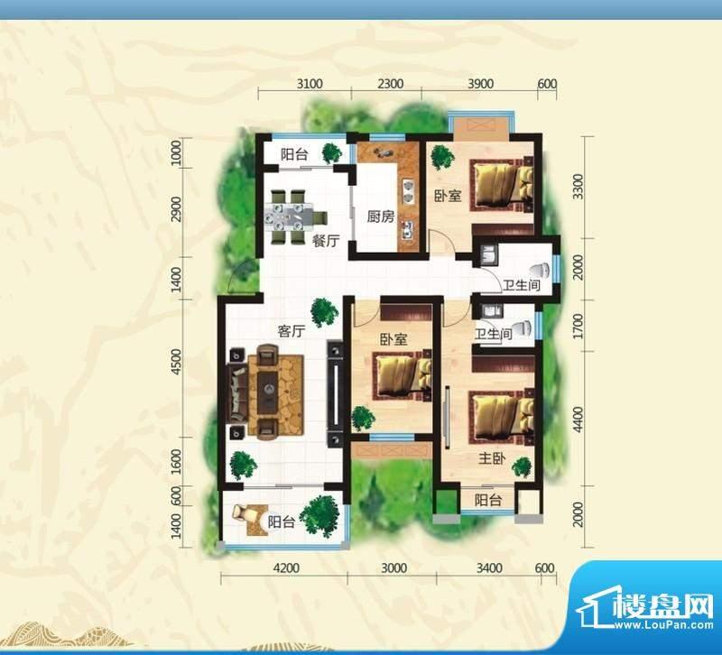 鸿豪城享山三室两厅面积:126.92m平米